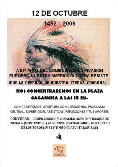 Afiche Convocatoria Charrúa - 12 de octubre de 2009.